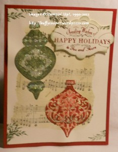Ornament Keepsakes, Music Notes, sponging, masking, Stampin' Up