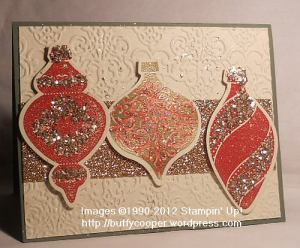 Ornament Keepsakes, Holiday ornaments framelits, Big Shot, Stampin' Up, champagne, glimmer paper, glass glitter, shimmer paint, Christmas