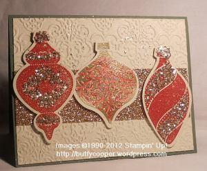 Ornament Keepsakes, Holiday ornaments framelits, Big Shot, Stampin' Up, champagne, glimmer paper, glass glitter, shimmer paint, Christmas