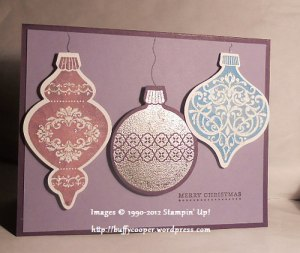Ornament Keepsakes, Holiday Ornaments framelits, Big Shot, Stampin' Up!, Christmas, embossing