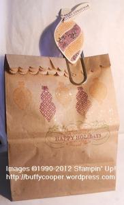 Ornament Keepsakes, Holiday Ornament framelits, gift bag, Christmas, Stampin' Up, Big Shot