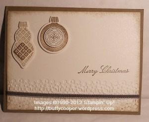 Ornament Keepsakes, Holiday Ornaments framelits, embossing, Big Shot, Stampin' Up, Christmas cards