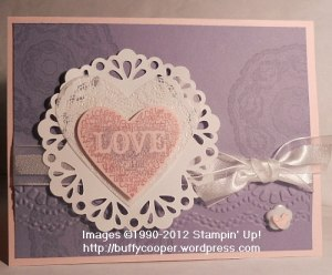 Sizzlets, Love, Valentine, Wisteria Wonder, Stampin' Up, stamping, heart, doilies