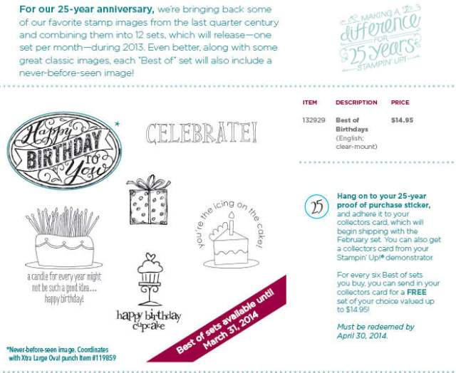 Best of Birthdays, Stampin' Up!, 25th Anniversary