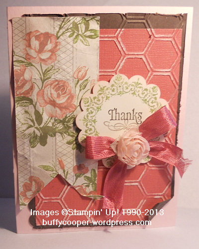 Everything Eleanor, Tea for Two, flower trim, embossing, honeycomb, Stampin' Up!