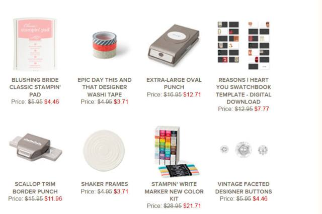 Stampin' Up!, sales, Weekly specials