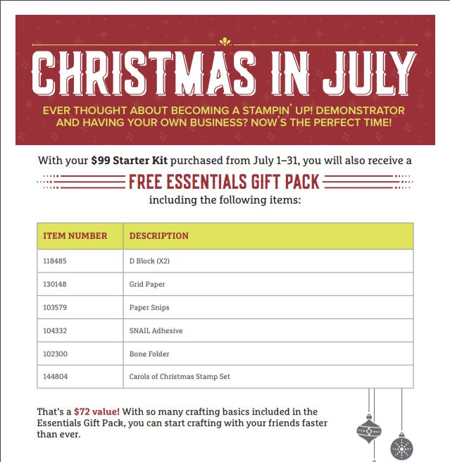 Christmas in July, Demonstrator Starter Kit, Stampin' Up!
