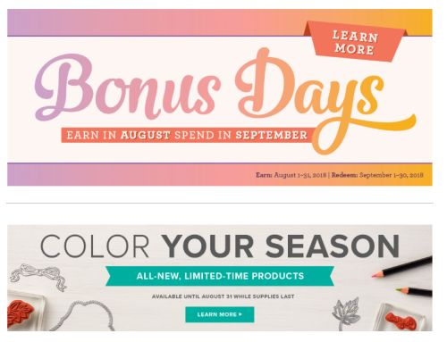 August Promotions, Stampin' Up!